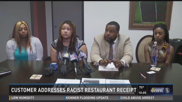 Customer addresses racist restaurant receipt