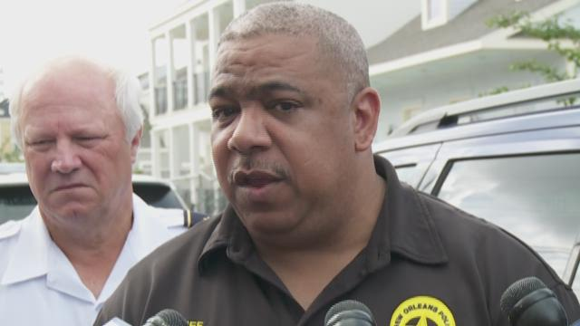 NOPD Superintendent Michael Harrison speaks about the murder of a HANO police officer Sunday.