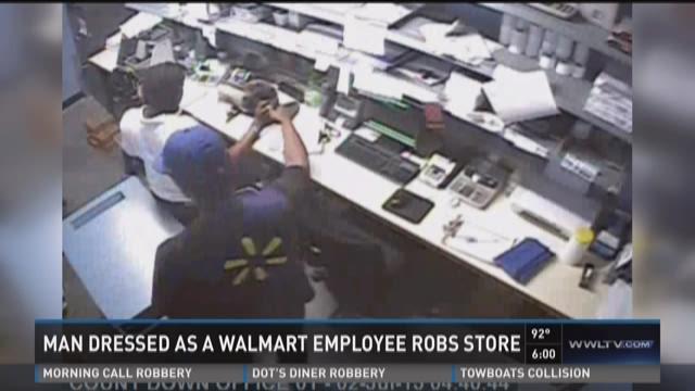 Man dressed as Walmart employee robs store