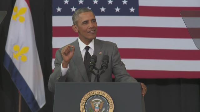 Obama talks recovery in trip to New Orleans